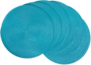 DII Round Braided/Woven, Indoor/Outdoor Placemat/Charger, Set of 6, Aqua