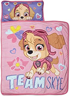 Paw Patrol Team Skye Nap Mat Set - Includes Pillow and Fleece Blanket – Great for Boys and Girls Napping at Daycare, Preschool, or Kindergarten - Fits Sleeping Toddlers and Young Children