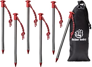 StayPut! Aero 7075 Lightweight Aluminum Anchor Peg Tent Stakes with Reflective Pull Cords and Storage Bag for Hammock Camp...