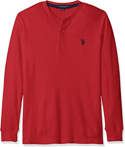 U.S. Polo Assn. Hommes's manche longue Thermal Henley, rouge Heather, S