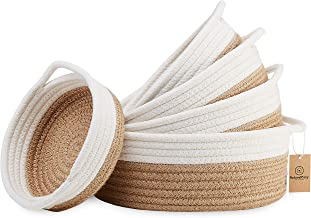 NaturalCozy 5-Piece Round Small Woven Baskets Set - 100% Natural Cotton Rope Baskets! Key Tray, Kids Montessori Toys, Bowl...