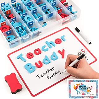 Teacher Buddy Magnetic Alphabet Letters Classroom Set with Double Sided Dry Erase Magnetic Board - 208 Foam ABC for Kids Spelling and Learning Games Resources