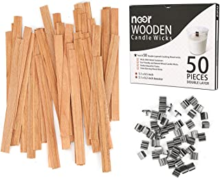 50 Pcs Double Layered ling Wooden Candle Wicks with Clips - Eco Friendly and Natural Wood Wicks for Candle Making - Clean ...
