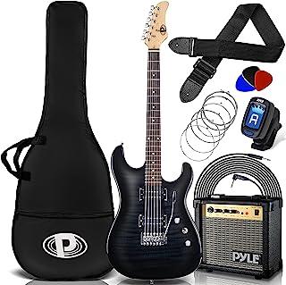 "Pyle 6 Amp Kit-39.4 ""Full size Guitar Humbucker Pickups Bundle Beginner Starter Package w / Amplifier، Case، Strap، Tuner، Pick، Strings، Cable، Tremolo (Black)، Right، (PEGKT99BK)"