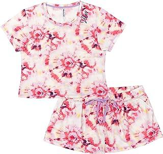Women's Juniors Tie-Dye Pajama Sleep Shorts Set