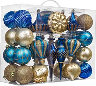 Valery Madelyn 60ct Trendy Shatterproof Christmas Ball Ornaments Decoration Blue and Gold,2.36Inch-7.48Inch for Christmas Tree Decorations