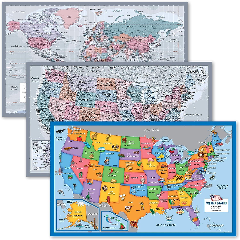 3 mart Superlatite Pack - World USA Map fo Chart Purple Illustrated +