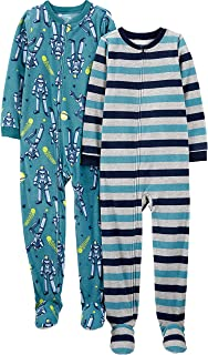 Simple Joys by Carter's Kid Little Boys' 2-Pack Loose-fit Fleece Footed Pajamas