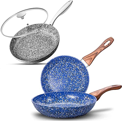 """lowest MICHELANGELO Gray Stone Frying Pan 10""""+Blue Stone Frying Pan Set 9.5"""" & high quality 11"""", Ultra online sale Nonstick Pots and Pans Set with Stone-Derived Coating, Stone Cookware Set Nonstick, Stone Pots and Pans Set outlet sale"""