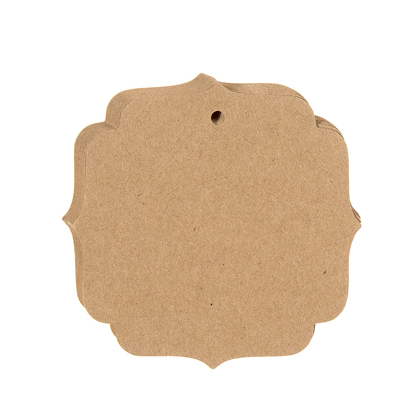 Darice Shield Shaped Paper Tags - 3 x 3 inches - Natural Kraft, 20 Piece