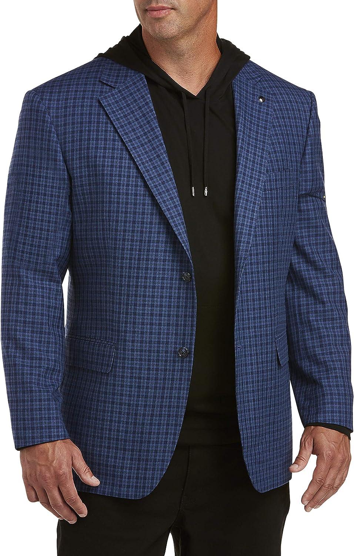 Oak Hill by DXL Big and Tall Small Check Sport Coat — Executive Cut, Blue