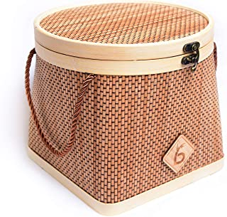 Bamboo basket with cover for Fruits, Veggies, Bread and Snacks. Perfect for kitchen counters and pantry cabinets. All natu...