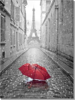 789Art – Black And White Romantic Paris Street Contemporary Wall Art Eiffel Tower Red Umbrella Framed Artwork Decorations For Living Room Office Bedroom Decor(32