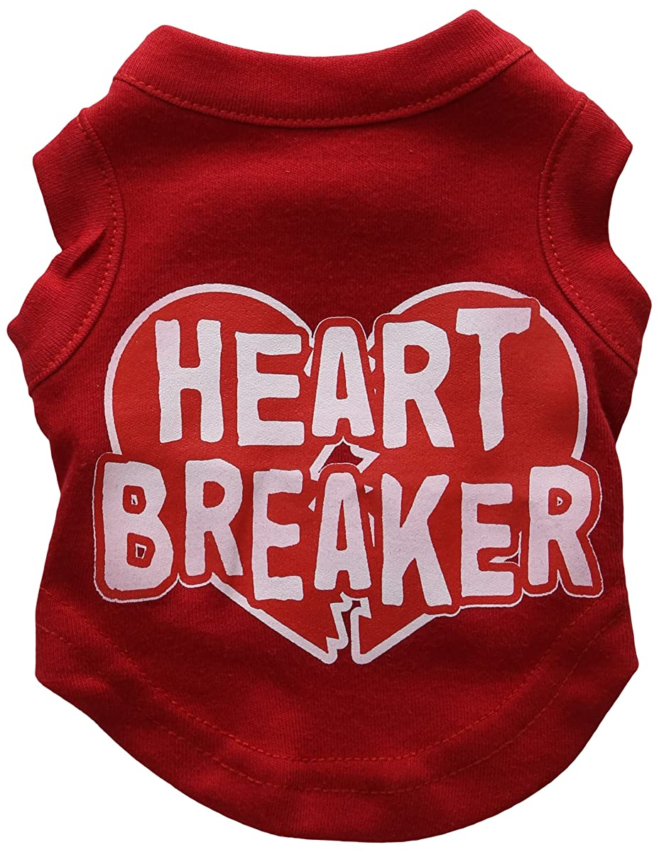 Mirage Pet Products 8-Inch Heart Breaker Screen Print Shirt for Pets, X-Small, Red