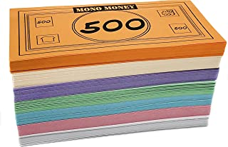Mono Board Game Money Replacement Set - $48,020 - Bills (4 x 2.2 Inches), 70 of each Amount, 490 Bills Total