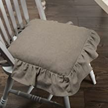 Piper Classics Ruffled Chambray Taupe-Grey Chair Pad, 15x15, Farmhouse Style