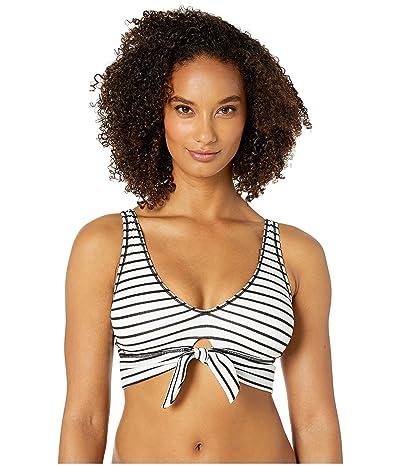 Robin Piccone Sailor Scoop Neck Top w/ Front Tie (White/Black) Women