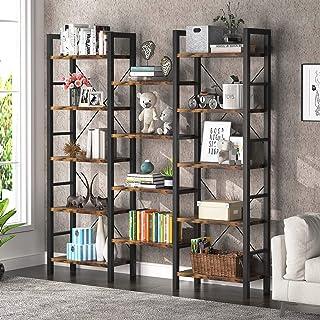 Tribesigns Bibliothèque, Étagère de Rangement à 5 Niveaux Meuble, pour Salon, Chambre, Bureau, Vintage, 178x30x178cm