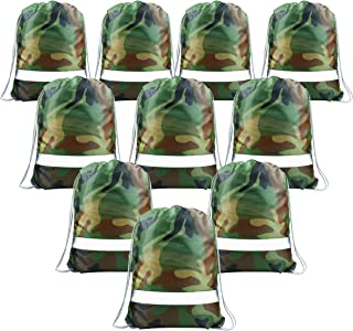 Camo Party Supplies Favors Goodie Bags for Teens Birthday, 10 Pack Camoflauge Drawstring Backpack Bags