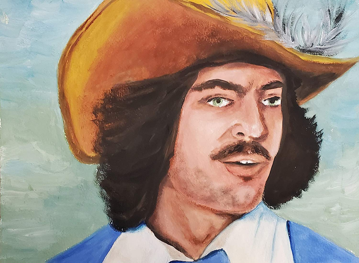 Musketeer portrait New arrival original Dealing full price reduction painting