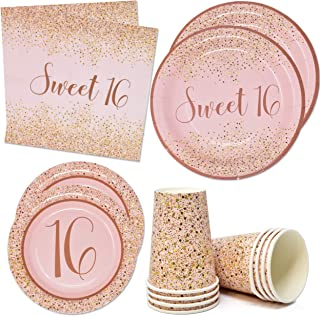 """Sweet 16 Birthday Party Supplies Tableware Set Includes 24 9"""" Paper Plates 24 7"""" Plate 24 9 Oz Cups 50 Lunch Napkins for T..."""