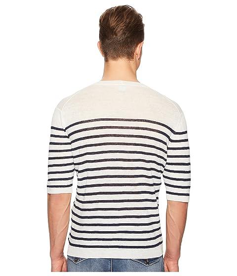 once cuello redondo con rayas con blanco marino lino de azul Camiseta BqOPR5YwY