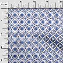 oneOone Velvet White Fabric Floral & Tiles Moroccan Sewing Material Print Fabric by The Yard 58 Inch Wide