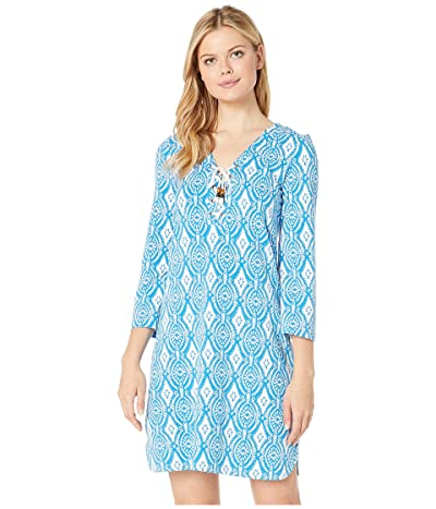 Hatley Dani French Terry Dress (Block Medallion Blue) Women