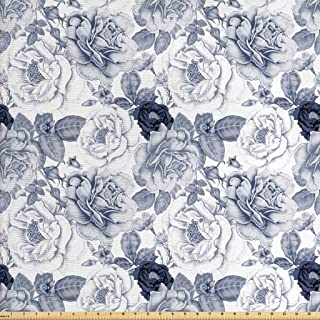 Ambesonne Shabby Flora Fabric by The Yard, Garden Spring Roses Buds with Leaves Flowers Romantic Image Artwork, Decorative Fabric for Upholstery and Home Accents, 3 Yards, Cadet Blue