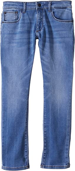Brady Light Wash Slim Leg Knit Jeans in Gondola (Toddler/Little Kids)