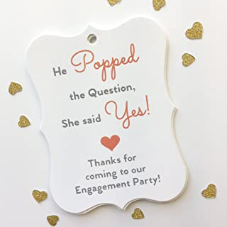 24ct Coral Engagement Party Tags, Favor Hang Tags (EC-081-GC)