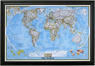 Push Pin Travel Maps Personalized Classic World with Black Frame and Pins 24 x 36