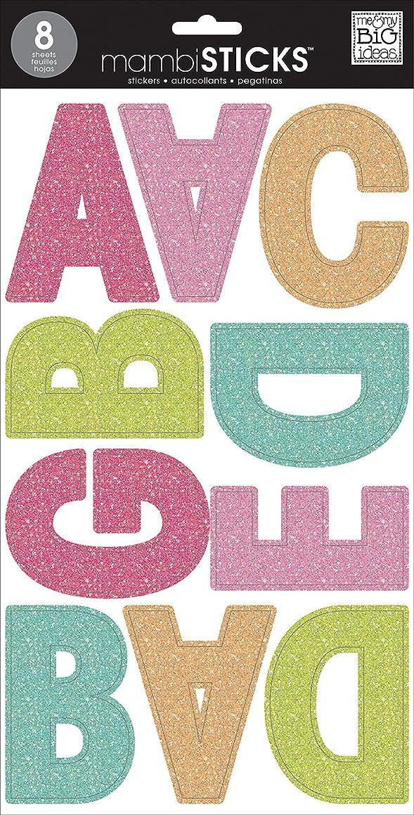 me & my BIG ideas Large Alpha Sticker, Ava Prisma, Glitter Multi Color