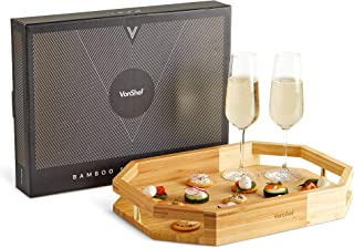 VonShef Wood Serving Tray - Large 100% Bamboo Tray with Gold Details - Ideal for Serving Breakfast, Appetizers, Cheese, Tea, Coffee, Canapes