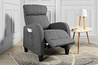 Casa Andrea Milano Living Room Slim Manual Recliner Chair (Dark Grey)