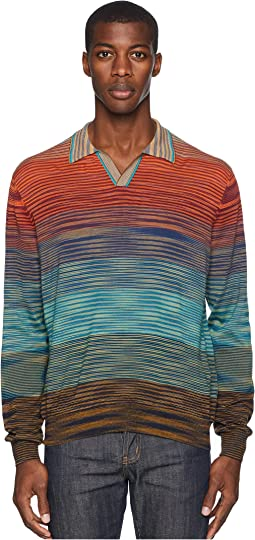 Ombre Long Sleeve Polo Sweater