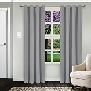 """Superior Solid Blackout Curtain Set of 2, Thermal Insulated Panel Pair with Grommet Top Header, Elegant Solid Room Darkening Drapes, Available in 4 Lengths - Silver, 52"""" x 108"""" each"""