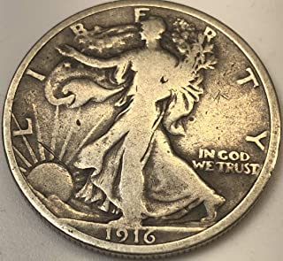 1916 P Silver Walking Liberty First Year of Walking Liberty Half Dollar Fine