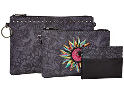 Sakroots Artist Circle Adventure Triple Pouch (Black Spirit Desert) Handbags