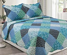 H & A Collection Rich Printed 3 Pieces Luxury Quilt Set with 2 Quilted Shams, Blue Green Patchwork Pattern, Blue, Black, Green Color, King Size
