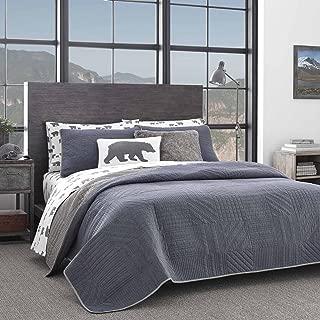 Eddie Bauer Hidden Lake Quilt Set, King, Medium Blue