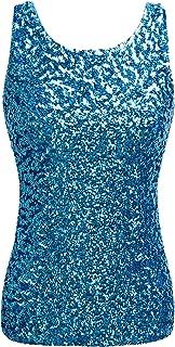 Women's Shimmer Glam Sequin Embellished Sparkle Tank Top Vest Tops