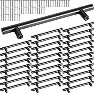 WEBI Black Cabinet Pulls:| 30 Packs | 3.8''(96mm) Hole Centers | Euro Style | Stainless Steel Drawer Pulls T Bar Cabinet Hardware,Great Pull Handle for Wardrobe, Cupboard,Dresser,Door,Depot