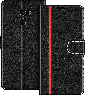 COODIO Funda Xiaomi Mi Mix 2 con Tapa, Funda Movil Xiaomi Mi Mix 2, Funda Libro Xiaomi Mi Mix 2 Carcasa Magnético Funda para Xiaomi Mi Mix 2, Negro/Rojo