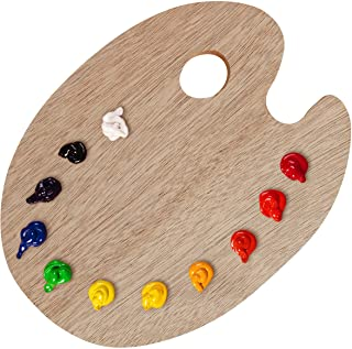 """U.S. Art Supply 12"""" x 16"""" Extra Large Wooden Oval-Shaped Artist Painting Palette with Thumb Hole - Wood Paint Color Mixing..."""