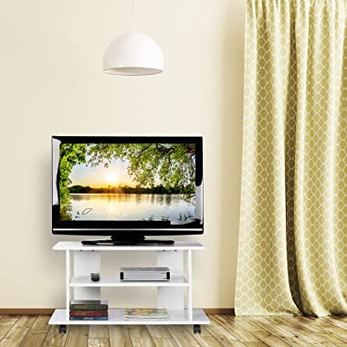Relaxdays Meuble, 2 Compartiments, Console, Receiver, Table TV sur roulettes HlP 45 x80x40cm, Blanc, Panneau de Particules, P
