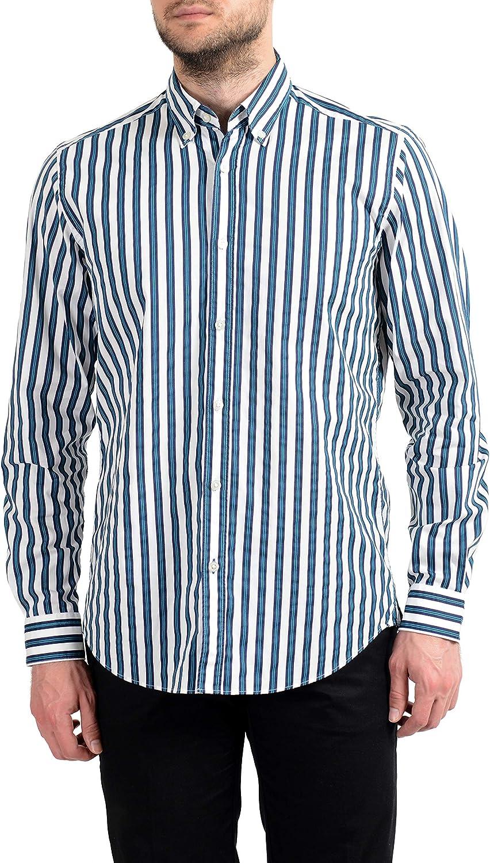 Hugo Boss Lod Men's Stretch Striped Long Sleeve Casual Shirt US M IT 50