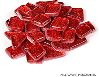 Milltown Merchants™ Red Glitter Mosaic Tile Pieces - Bulk Sparkle Mosaic Tiles - 1 Pound (16 oz) Shimmer Tile Assortment for Backsplash, Murals, Stepping Stones, and Mosaics