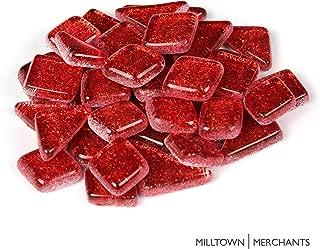 Milltown Merchants™ Red Glitter Mosaic Tile Pieces - Bulk Sparkle Mosaic Tiles - 3 Pound (48 oz) Shimmer Tile Assortment for Backsplash, Murals, Stepping Stones, and Mosaics