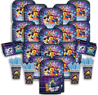 Party Pack Bundle - The Lego Movie 2 Bundle Seats 16: Napkins, Plates, Cups and Stickers - Childrens The Lego Movie 2 Party Supplies